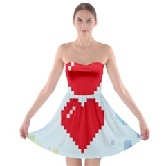 Red Heart Love Plaid Red Blue Strapless Bra Top Dress