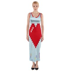 Red Heart Love Plaid Red Blue Fitted Maxi Dress