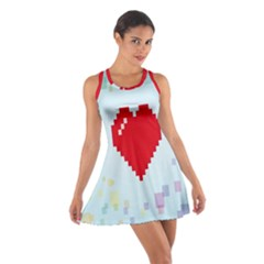 Red Heart Love Plaid Red Blue Cotton Racerback Dress