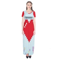 Red Heart Love Plaid Red Blue Short Sleeve Maxi Dress