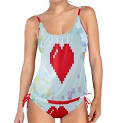 Red Heart Love Plaid Red Blue Tankini