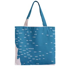 Peta Anggota City Blue Eropa Zipper Grocery Tote Bag
