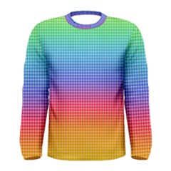 Plaid Rainbow Retina Green Purple Red Yellow Men s Long Sleeve Tee