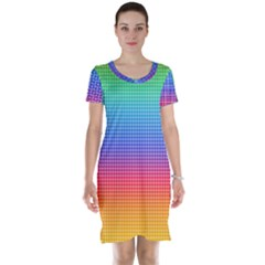 Plaid Rainbow Retina Green Purple Red Yellow Short Sleeve Nightdress