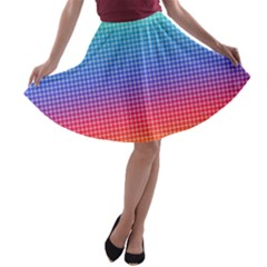 Plaid Rainbow Retina Green Purple Red Yellow A-line Skater Skirt