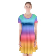 Plaid Rainbow Retina Green Purple Red Yellow Short Sleeve V-neck Flare Dress