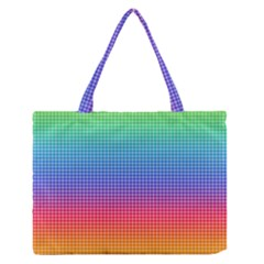 Plaid Rainbow Retina Green Purple Red Yellow Medium Zipper Tote Bag