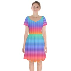 Plaid Rainbow Retina Green Purple Red Yellow Short Sleeve Bardot Dress