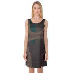 Tree Jungle Brown Green Sleeveless Satin Nightdress