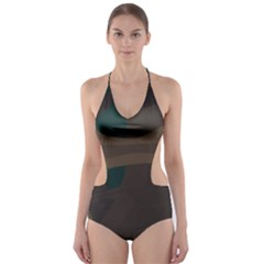 Tree Jungle Brown Green Cut-Out One Piece Swimsuit