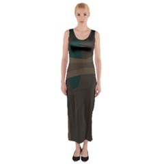 Tree Jungle Brown Green Fitted Maxi Dress