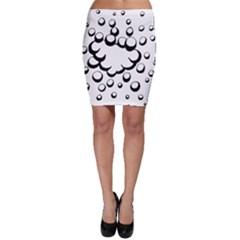 Splash Bubble Black White Polka Circle Bodycon Skirt