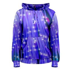 Neon Light Line Vertical Blue Women s Pullover Hoodie
