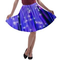 Neon Light Line Vertical Blue A-line Skater Skirt