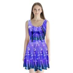 Neon Light Line Vertical Blue Split Back Mini Dress