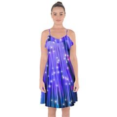 Neon Light Line Vertical Blue Ruffle Detail Chiffon Dress