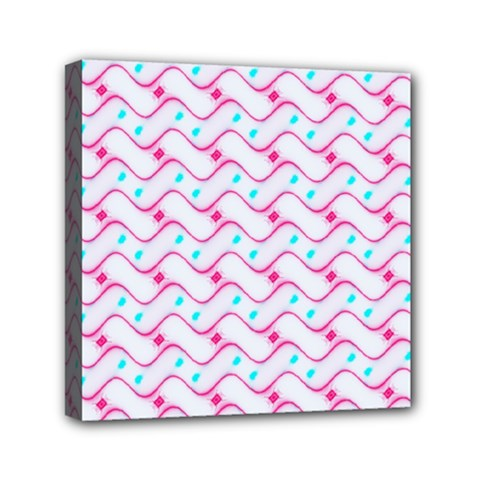 Squiggle Red Blue Milk Glass Waves Chevron Wave Pink Mini Canvas 6  x 6