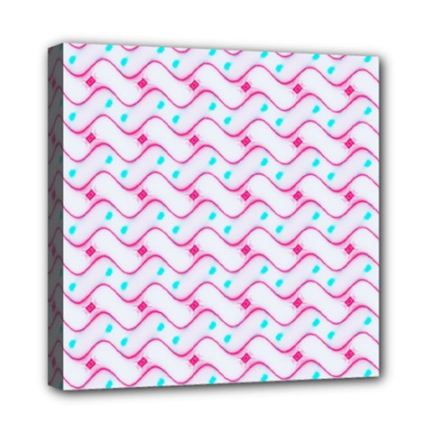 Squiggle Red Blue Milk Glass Waves Chevron Wave Pink Mini Canvas 8  x 8