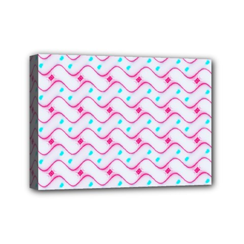 Squiggle Red Blue Milk Glass Waves Chevron Wave Pink Mini Canvas 7  x 5