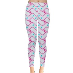 Squiggle Red Blue Milk Glass Waves Chevron Wave Pink Leggings