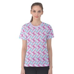 Squiggle Red Blue Milk Glass Waves Chevron Wave Pink Women s Cotton Tee