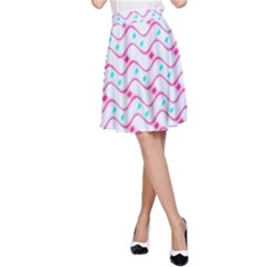 Squiggle Red Blue Milk Glass Waves Chevron Wave Pink A-Line Skirt