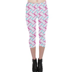 Squiggle Red Blue Milk Glass Waves Chevron Wave Pink Capri Leggings