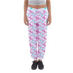 Squiggle Red Blue Milk Glass Waves Chevron Wave Pink Women s Jogger Sweatpants