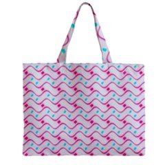 Squiggle Red Blue Milk Glass Waves Chevron Wave Pink Zipper Mini Tote Bag