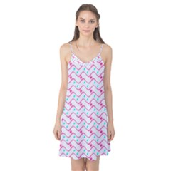 Squiggle Red Blue Milk Glass Waves Chevron Wave Pink Camis Nightgown
