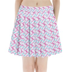 Squiggle Red Blue Milk Glass Waves Chevron Wave Pink Pleated Mini Skirt