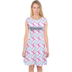 Squiggle Red Blue Milk Glass Waves Chevron Wave Pink Capsleeve Midi Dress