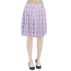 Squiggle Red Blue Milk Glass Waves Chevron Wave Pink Pleated Skirt