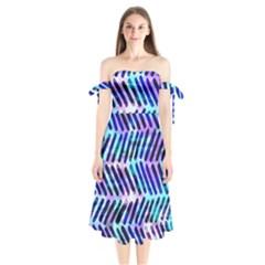 Blue Tribal Chevrons  Shoulder Tie Bardot Midi Dress