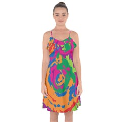 Abstract Art Ruffle Detail Chiffon Dress