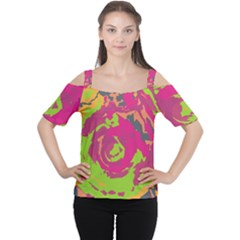 Abstract art Women s Cutout Shoulder Tee