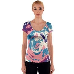 Abstract art Women s V-Neck Cap Sleeve Top
