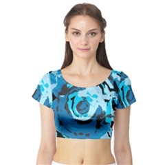 Abstract art Short Sleeve Crop Top (Tight Fit)