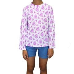 Sweet Doodle Pattern Pink Kids  Long Sleeve Swimwear