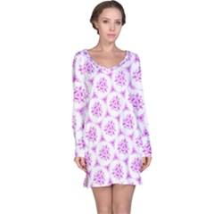 Sweet Doodle Pattern Pink Long Sleeve Nightdress