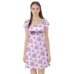 Sweet Doodle Pattern Pink Short Sleeve Skater Dress