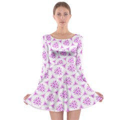 Sweet Doodle Pattern Pink Long Sleeve Skater Dress