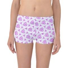 Sweet Doodle Pattern Pink Boyleg Bikini Bottoms