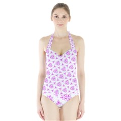 Sweet Doodle Pattern Pink Halter Swimsuit