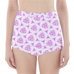 Sweet Doodle Pattern Pink High Waisted Bikini Bottoms