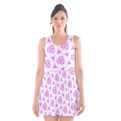 Sweet Doodle Pattern Pink Scoop Neck Skater Dress