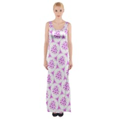 Sweet Doodle Pattern Pink Maxi Thigh Split Dress