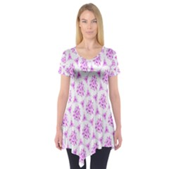 Sweet Doodle Pattern Pink Short Sleeve Tunic