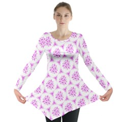 Sweet Doodle Pattern Pink Long Sleeve Tunic