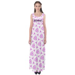 Sweet Doodle Pattern Pink Empire Waist Maxi Dress